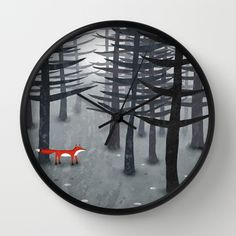 The Fox and the Forest Wall Clock by Squirrell - $30.00