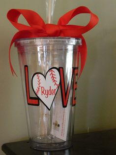 Love Baseball Tumbler - Heart Baseball, Love Softball, Great for Sports Moms - Double Wall Insulated 16oz BPA Free on Etsy, $10.95