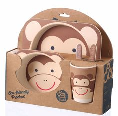 5 Piece Kids Dinnerware Set - Eco-Friendly Bamboo - BPA Free - Monkey Design: Dining & Entertaining (affiliate)