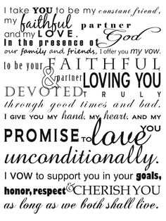 our wedding vows... words that mean forever