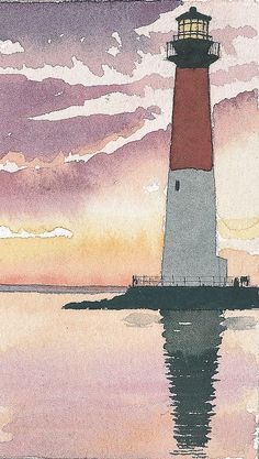 Barnegat Lighthouse NJ Purple gold sunset at Old Barney on Jersey Shore Matted art prints of or - Watercolor Trees, Watercolor Portraits, Watercolor Paintings, Simple Watercolor, Tattoo Watercolor, Abstract Watercolor, Watercolor Animals, Watercolor Background, Watercolor Artists