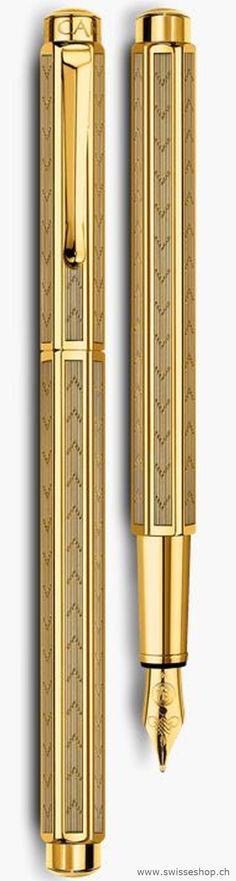 Füllfederhalter ECRIDOR CHEVRON vergoldet / Gold-plated ECRIDOR CHEVRON fountain pen - CARAN d`ACHE. You can buy on www.swisseshop.ch