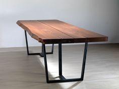 tavolo da cucina legno di castagno e gambe in ferro colore naturale ...