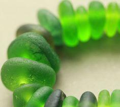 Drilled Sea Glass, sea glass, green sea glass