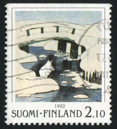 FINLAND - CIRCA 1992: stamp printed by Finland, shows Bridge Covered by Ice , circa 1992 Stock Photo