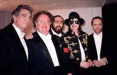 MJ and world famous tenors Luciano Pavarotti, Placido Domingo and José Carreras backstage during the 1997 Three Tenors Concert at Stadio Alberto Bragliain Modena, Italy June 17 1997