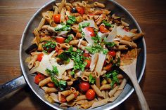 Whole-Wheat Summer Pasta with Eggplant, Tomato and Caramelized Onions