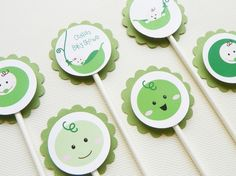 pea cupcake toppers