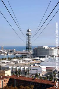 Barcelona's Port - Cable Car- The 'Transbordador Aeri del Port' - the iconic Port cable car that cuts across the city's skyline to Montjuïc