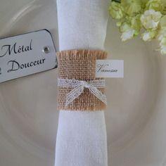Lot de 10 ronds de serviette mariage ou baptême esprit champêtre vintage en toile de jute et dentelle