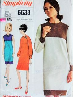 Mod Mondrian Color Block Shift Dress Pattern Simplicity 6633 YSL Slim Dress Round Neckline or Peter Pan Collar VersionDesigner Fashion Vintage Sewing Pattern Bust vintage sewing patterns: This is a fabulous original dress making pa Mondrian Dress, Shift Dress Pattern, Vintage Fashion, Vintage Style, Vintage Sewing Patterns, Dress Making, Slim, Peter Pan, Beauty Skin