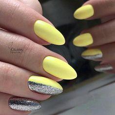 Cute Almond Nails, Almond Nail Art, Yellow Nails Design, Nails Inspiration, Nail Designs, Beauty, Color, Nail Desings, Colour