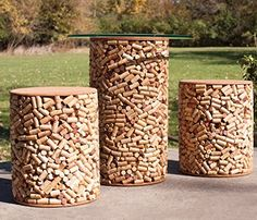Wine Stoppers - Wine Cork Patio Set  1 Table 2 Stools >>> You can find out more details at the link of the image.