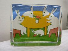Iittala Glass card bunny paperweight Rabbit Meetings Heljä Liukko-Sundström