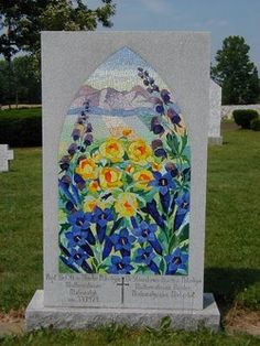 Mosaic flower scene gravestone