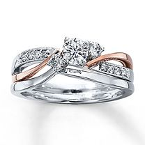 I absolutely love this... Engagement ring and wedding band, 3/8 ct tw Diamond Bridal Set Round-Cut 14K Two-Tone Gold