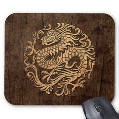 This flowing circular design features a flowing Chinese dragon. The body of the serpent snakes around from the top of the pattern down to the swirling tail. Four large claws extend from the body of the dragon creating an aggressive yet elegant stance. Rough textures and natural colors gives the pattern the look of being made of aged wood. This beautiful pattern is a stylish take on the traditional Chinese dragon.