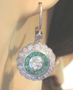 Antique Colombian Emerald Diamond Earrings Platinum E-1.60CT D-3.70CT Art Deco