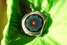 Mandala Stone Pendant by MJArtistryTreasures on Etsy