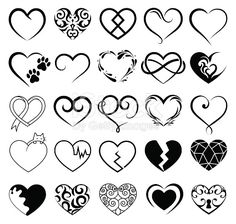 Set of 25 tattoo hearts image. Vector symbol.