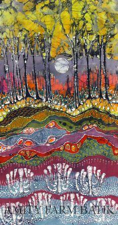Dishfunctional Designs: Beautiful Batik: What It Is & How It's Made. Moonlight Over Spring batik painting by amityfarmbatik via Etsy Landscape Quilts, Landscape Art, Fabric Painting, Fabric Art, Fabric Frame, Shibori, Inchies, Batik Art, Wow Art