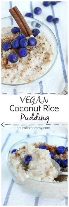 Vegan Coconut Rice Pudding - A healthy, vegan and gluten free snack can be made with white or brown rice and is cooked in coconut milk. The texture is dreamy and there are no refined sugars! NeuroticMommy.com #vegan #glutenfree #snacks #ricepudding