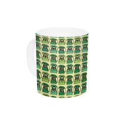 "Holly Helgeson ""Vintage Telephone"" Green Pattern Ceramic Coffee Mug"