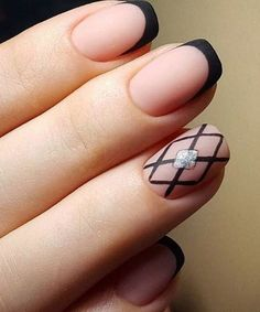 Cute Black Tips Acrylic Nail Art Design
