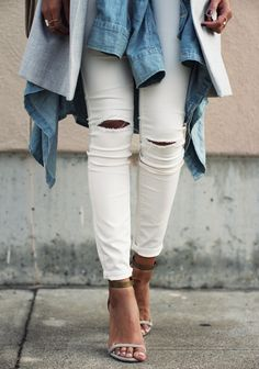 layers // ripped white skinnies // Isabel Marant sandals
