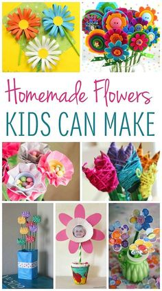 These cute homemade flowers are a gift that keeps on giving. You'll find 16 homemade flower ideas that kids can make that are sure to bring smiles! day crafts for kids Easy Diy Mother's Day Gifts, Easy Mother's Day Crafts, Mothers Day Crafts For Kids, Diy Mothers Day Gifts, Mother's Day Diy, Crafts For Kids To Make, Projects For Kids, Gifts For Kids, Art Projects