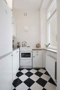 100 Ideas & Inspirations for Small Spaces- black and white flooring in the kitchen