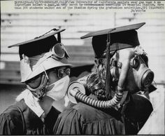 UC Berkeley seniors wear gas masks to graduation in protest against Governor Reagan's use of the National Guard against students and city residents 1969 [736x608]