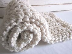 Chunky wool blend blanket-throw for baby - NATURAL VANILLA. $35.00, via Etsy.
