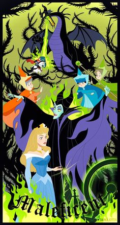 Arte Disney, Disney Love, Disney Magic, Disney Pixar, Sleeping Beauty Art, Sleeping Beauty Maleficent, Vintage Disney Posters, Aurora Disney, Pinturas Disney