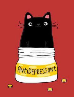 Black cat meme - cat's are like anti-depressants. Black cat meme - cat's are like anti-depressants. Meme Chat, Black Cat Illustration, Cat Illustrations, Gatos Cool, Cute Black Cats, Black Cat Art, Cat Life, Crazy Cats, Crazy Cat Lady Meme