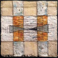Megan Klim Mixed Media Artist Encaustic | Beeswax, wire, thread, ink on burlap on wood.