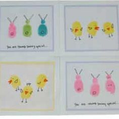 Fingerprint Easter Cards {Easter Cards for Kids to Make}