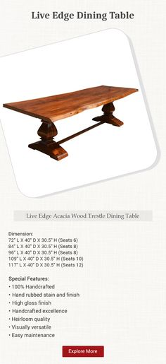 Celebrate the natural beauty of wood with our Live Edge Trestle Dining Table. The formal two column trestle legs are connected by a single stretcher for extr. Trestle Legs, Live Edge Furniture, Trestle Dining Tables, Acacia Wood, Real Wood, Stability, Farmhouse Style, Natural Beauty, Formal