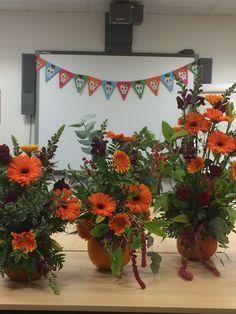 Halloween floral workshops Planter Pots, Floral Wreath, Workshop, Barn, Pumpkin, Wreaths, Halloween, Flowers, Home Decor