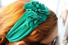 take an old (or new) t-shirt and make it into this amazingly cute and comfortable headband