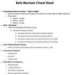 Beta Blockers Cheat Sheet