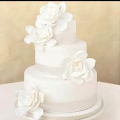 Wedding cake- short and simple, but have canary yellow ribbon on the bottom of each cake.