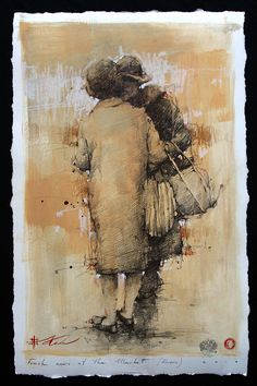 """SOLD-Fresh News at the Market Drawing 24"""" x 15""""  http://www.andrekohnfineart.com"""