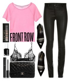 """""""front row"""" by ecem1 ❤ liked on Polyvore featuring Kiki de Montparnasse, Chanel, Yves Saint Laurent, Forever 21 and Essie"""