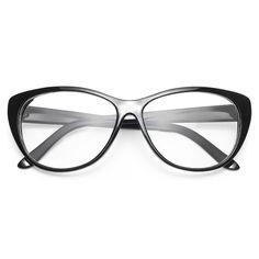 'Violet' Oversized Clear Cat Eye Glasses - Black - 1100-1