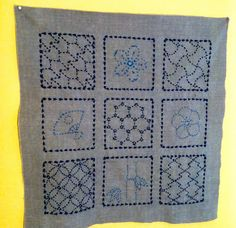 Finally finished this sashiko sampler: I just don't know what to actually do with it! Make it into a pillow? Use as a medallio. Japanese Embroidery, Textiles, Boro, Wabi Sabi, Shibori, Embroidery Patterns, Needlework, Blanket, Gray