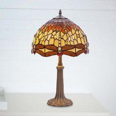 Lámpara de mesa Belle Amber cristal Tiffany