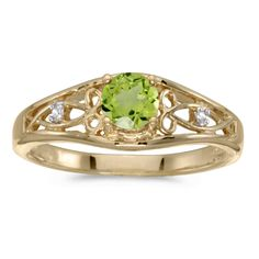 10k Yellow Gold Round Peridot And Diamond Ring (Size 10). Beautiful complimentary gift box included with this purchase. Setting made entirely with genuine solid 10 karat gold. Main stone size: 5mm. All gemstones are genuine. 30 Day Satisfaction Guarantee.