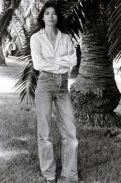 Françoise Hardy botton down shirt and 70s denim