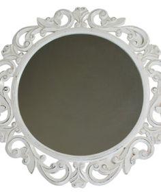 Albasia Wood Antiqued Mirror in White | Belle Studio Home Boutique
